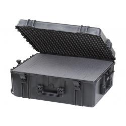 MAX620H250STR.079 Plastica Panaro MAX CASES VALIGIA ERMETICA NERA SPUGNE CUBETTATE E TROLLEY