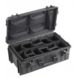 MAX520CAMORG.079 Plastica Panaro MAX CASES VALIGIA ERMETICA NERA INTERNO CON DIVISORIE IMBOTTITE + ORGANIZER PER COPERCHIO