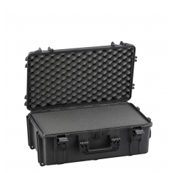 MAX520STR.079 Plastica Panaro MAX CASES VALIGIA ERMETICA NERA SPUGNE CUBETTATE E TROLLEY