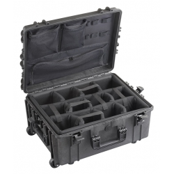 MAX540H245CAMOR.079 Plastica Panaro MAX CASES VALIGIA ERMETICA NERA INTERNO CON DIVISORIE IMBOTTITE + ORGANIZER PER COPERCHIO