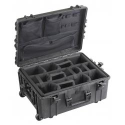 MAX540H245CAMORGTR.079 Plastica Panaro MAX CASES VALIGIA ERMETICA NERA: DIVISORIE IMBOTTITE, ORGANIZER PER COPERCHIO E TROLLEY