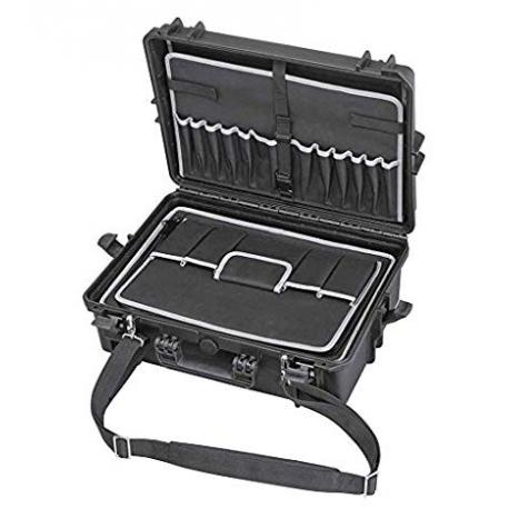 MAX505TCTR.079 Plastica Panaro MAX CASES VALIGIA ERMETICA NERA PORTAUTENSILI E TROLLEY