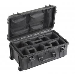 MAX520CAMORGTR.079 Plastica Panaro MAX CASES VALIGIA ERMETICA NERA INTERNO CON DIVISORIE IMBOTTITE, ORGANIZER, TROLLEY