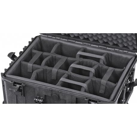 INT520CAM MAX CASES Plastica Panaro Interno con divisorie imbottite per Max520 (spugna bugnata non inclusa) nero