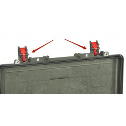 KIN.1210 EXPLORER CASES Serratura verde militare con pulsante di sicurezza rosso per 5218 - 5221